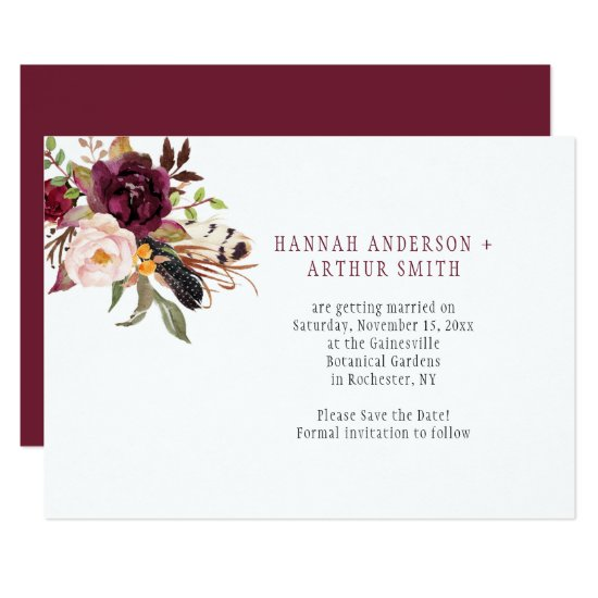 Marsala Boho Florals Save the Date Invitation