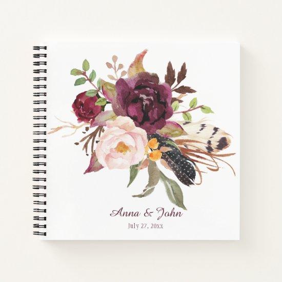 Marsala Boho Watercolor Floral Wedding Guest Book