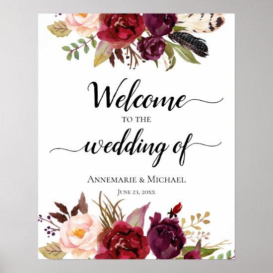 Marsala Boho Watercolor Floral Wedding Sign