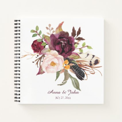 Marsala Boho Watercolor Florals Guest Book