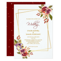 Marsala Bronze Roses Floral Wedding Invitation