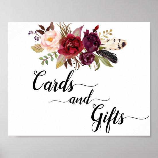 Marsala Burgundy Boho Roses Cards & Gifts Sign