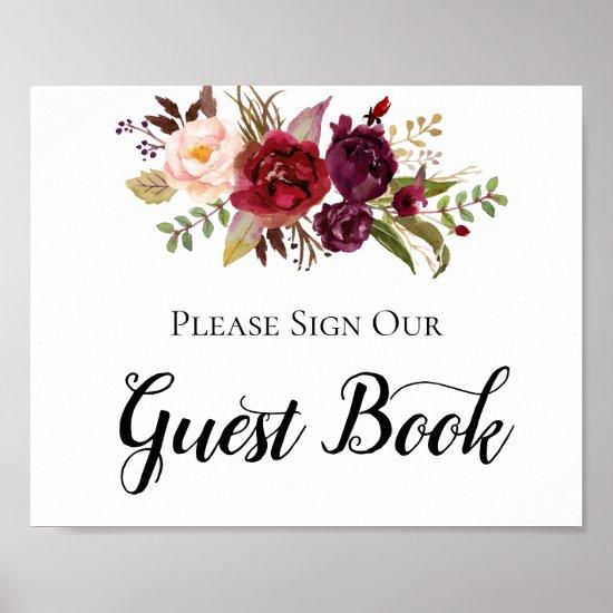 Marsala Burgundy Boho Roses Guest Book Sign