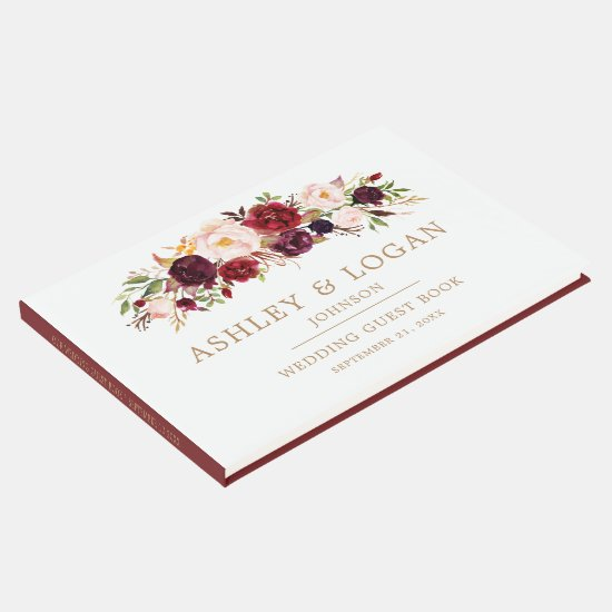 Marsala Burgundy Floral Autumn Wedding Guest Book