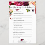 """Marsala Burgundy Floral Bridal Shower Games<br><div class=""""desc"""">This two-sided game sheet can be personalized by adding the bride&#39;s name and shower date.  Please check out this entire collection to see other matching pieces! 3979</div>"""