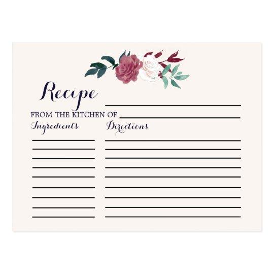 marsala burgundy floral bridal shower recipe cards