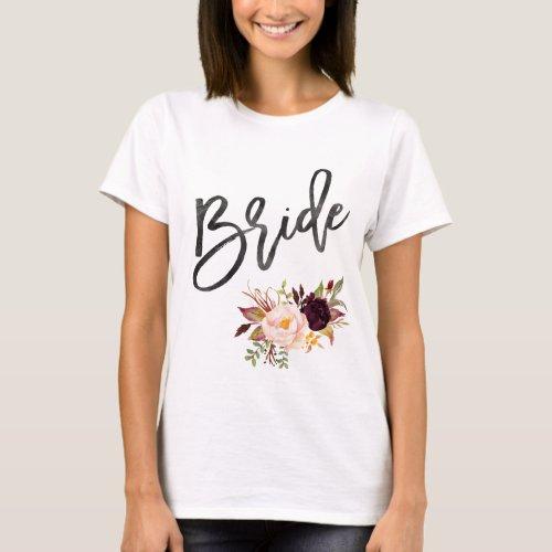 Marsala burgundy Floral bride T_Shirt