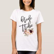 Marsala burgundy Floral bride tribe T-Shirt