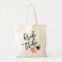 Marsala burgundy Floral bride tribe Tote Bag