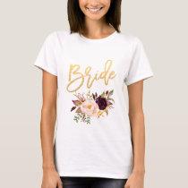 Marsala burgundy Floral bride white T-Shirt