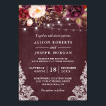 """Marsala Burgundy Floral Lace String Lights Wedding Card<br><div class=""""desc"""">Create the perfect Rustic Wedding invite with this &quot;Marsala Burgundy Floral Lace String Lights Winter Wedding Invitation&quot; template. This high-quality design is easy to customize to match your wedding colors, styles and theme. (1) For further customization, please click the &quot;customize further&quot; link and use our design tool to modify this...</div>"""