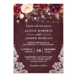 Marsala Burgundy Floral Lace String Lights Wedding Card<br><div class='desc'>Create the perfect Rustic Wedding invite with this &quot;Marsala Burgundy Floral Lace String Lights Winter Wedding Invitation&quot; template. This high-quality design is easy to customize to match your wedding colors, styles and theme. (1) For further customization, please click the &quot;customize further&quot; link and use our design tool to modify this...</div>