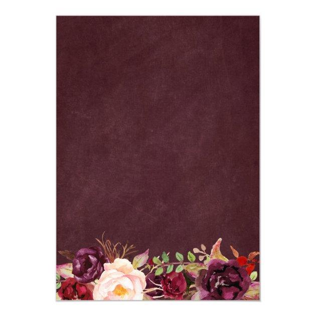 Marsala Burgundy Floral Lace String Lights Wedding Card (back side)