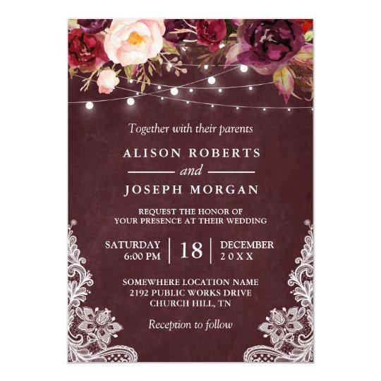 Marsala Burgundy Fl Lace String Lights Wedding Invitation