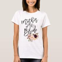 Marsala burgundy Floral mother of the bride T-Shirt