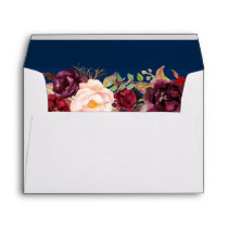 Marsala Burgundy Floral Navy Blue & Return Address Envelope
