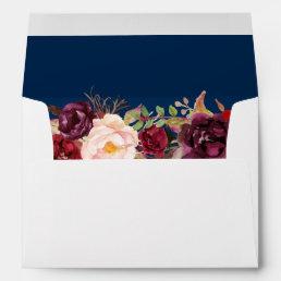 Marsala Burgundy Floral Navy Blue & Return Address Envelope