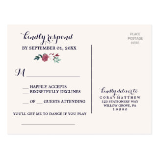 Marsala & Burgundy Floral Navy Song Request RSVP Postcard