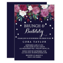 Marsala & Burgundy Floral on Navy Brunch & Bubbly Invitation