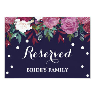 "Marsala & Burgundy Floral on Navy ""Reserved"" Sign Card"