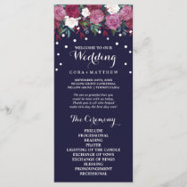 Marsala & Burgundy Floral on Navy Wedding Program