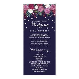 Marsala & Burgundy Floral on Navy Wedding Program