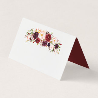 Marsala Burgundy Floral Wedding Folded Place Card