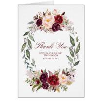 Marsala Burgundy Floral Wedding Thank You