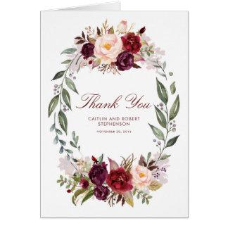 Marsala Burgundy Floral Wedding Thank You Card