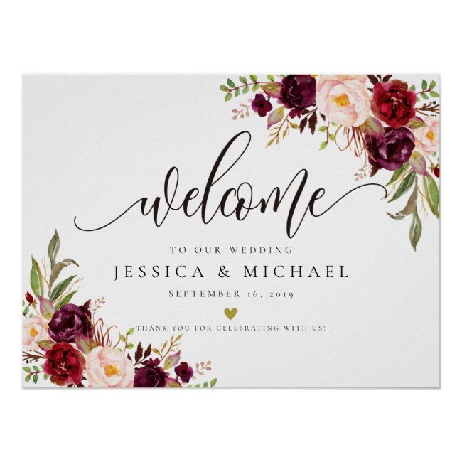 Marsala Burgundy Floral Wedding Welcome Sign