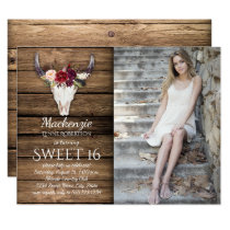 Marsala Burgundy Flowers Cow Skull Photo Sweet 16 Invitation