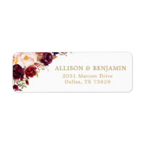 Marsala Burgundy Flowers Return Address Label
