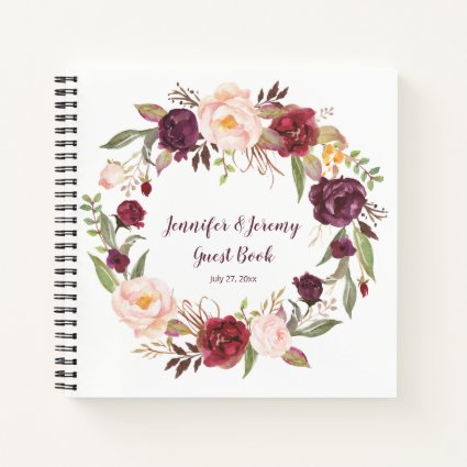 Marsala Burgundy Pink Floral Guest Book
