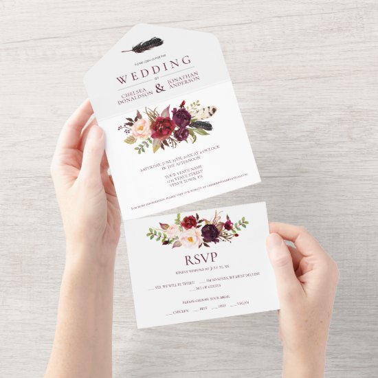 Marsala Burgundy Red Boho Floral   All In One Invitation