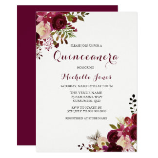 Marsala Burgundy Red Floral Spring Quinceanera Card