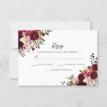 Marsala Burgundy Red Floral Wedding RSVP