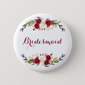 marsala burgundy red pink floral bridesmaid button