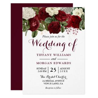 Marsala Burgundy Red Roses Fall Spring Wedding Invitation