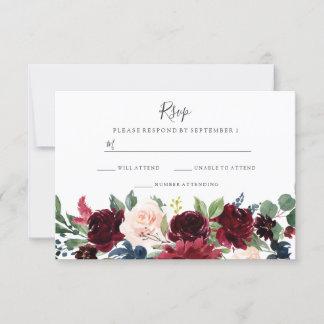 Marsala Burgundy Red Wine Floral Wedding RSVP