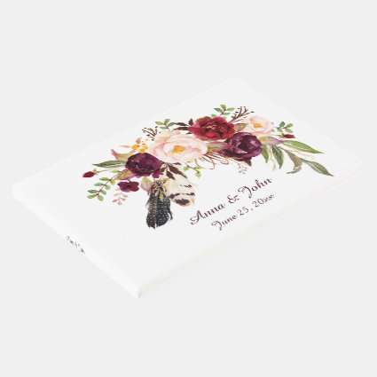 Marsala Burgundy Roses Boho Feathers Guest Book