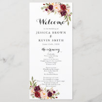 Marsala Burgundy Rustic Floral Program