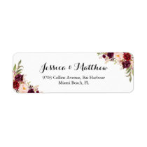 Marsala Burgundy Rustic Peony Floral Label