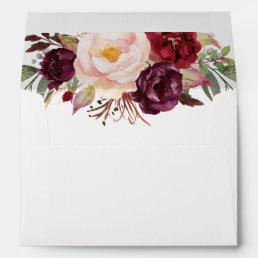 Marsala Burgundy Watercolor Flowers Bouquet Envelope