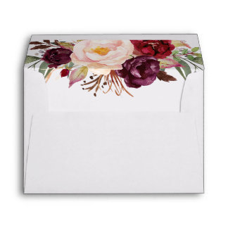 Marsala Burgundy Watercolor Flowers Bouquet Envelope