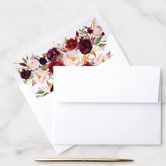 Marsala Burgundy Watercolor Flowers Wedding Envelope Liner