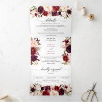 Marsala Burgundy Wedding Tri-Fold Invitations