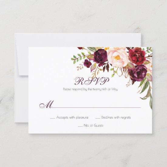 Marsala Burgundy White Red Roses Classic RSVP |