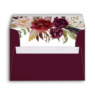 Marsala Burgundy White Roses Feathers Boho Envelope