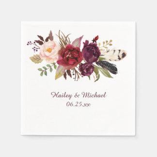 Marsala Burgundy White Roses Feathers Boho Napkin