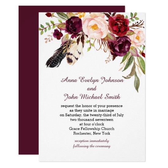 Marsala Burgundy White Roses Feathers Boho Wedding Invitation